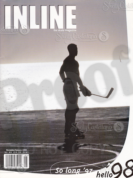 1997: Inline Skate Magazine tearsheet.  Beach Hockey at sunset with sailboat on the cover.