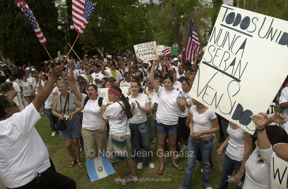 Protesters and counter protesters participated in a demonstration against immigration legislation attended by about 15,000 on April 10, 2006, at Armory Park in Tucson, Arizona, USA.  Counter protesters burned the flag of Mexico.
