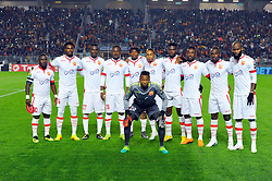 March 8, 2019 - Rades, Tunisia - Team of HAC during the  Match of the 5th day of the group phase of the CAF Champions League, between L'Esperance sportive de Tunis (EST) and Horoya Conakry (HAC) of Guinea Friday 8 March Radès.EST won by 2/0 ..photo: Yassine Mahjoub. (Credit Image: © Chokri Mahjoub/ZUMA Wire)