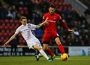 Tom Parkes is dispossessed by Jack Taylor during the EFL Sky Bet League 2 match between Leyton Orient and Barnet at the Matchroom Stadium, London, England on 7 January 2017. Photo by Jack Beard.