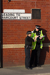 © Licensed to London News Pictures . 05/03/2013 . Walkden , UK . Fire crews and police at the scene where several homes are evacuated, streets closed and residents are being advised to keep doors and windows closed following an explosion and fireball caused by a diesel powered pressure washer at a tanker cleaning facility in an industrial unit on Harcourt Street , Walkden , Greater Manchester this afternoon (5th March). An air ambulance evacuated injured people to hospital . Photo credit : Joel Goodman/LNP