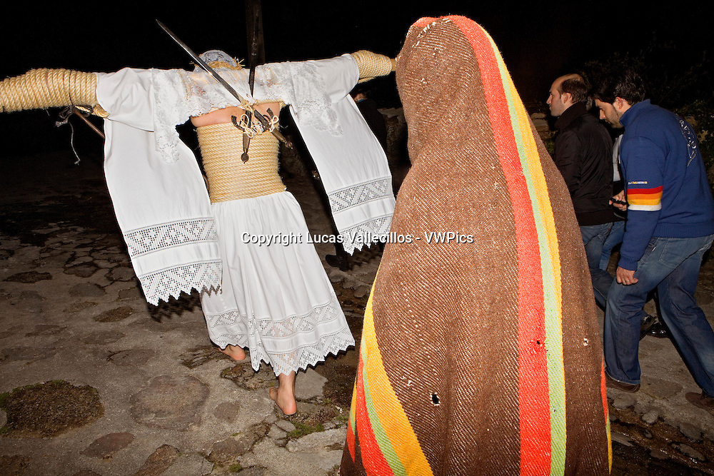 `Empalaos´ (impaleds), Holy Week in Valverde de la Vera. Empalao and companion (family).Caceres province, Extremadura, Spain