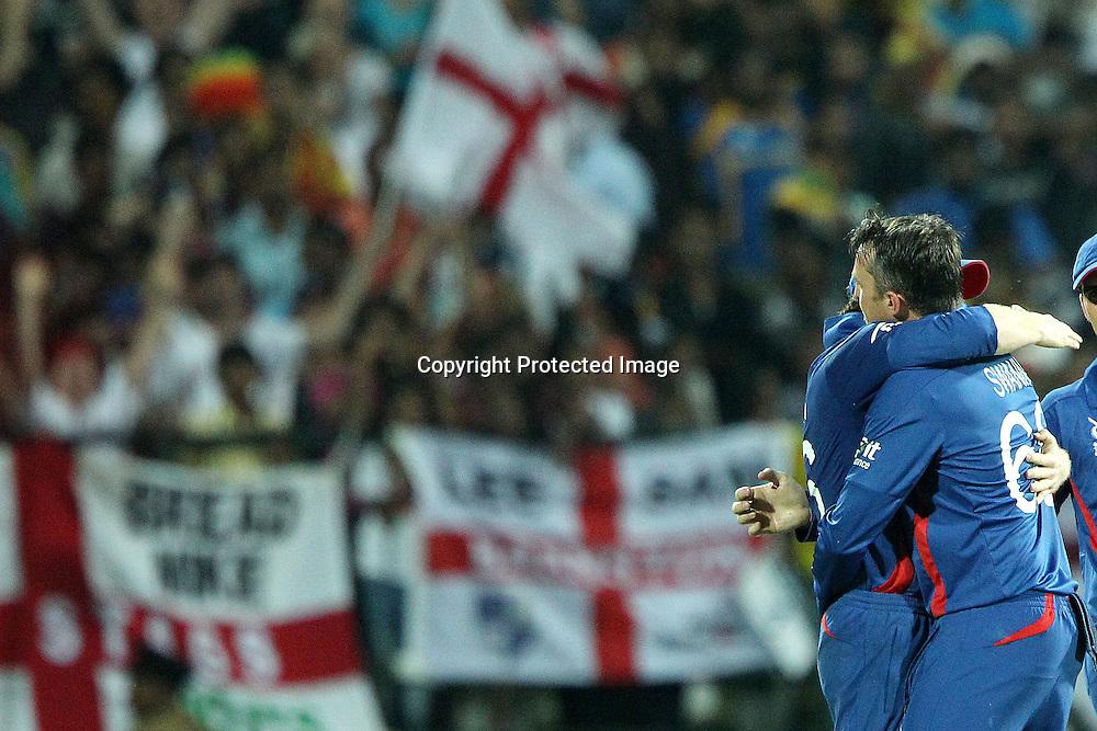 Graeme Swann of England  celebrates the wicket of Mahela Jayawardene during the ICC World Twenty20 Super Eights match between England and Sri Lanka held at the  Pallekele Stadium in Kandy, Sri Lanka on the 1st October 2012<br /> <br /> Photo by Ron Gaunt/SPORTZPICS