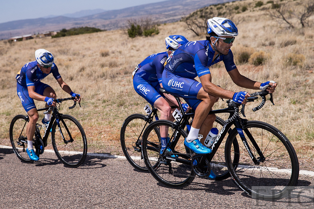 SILVERY CITY, NM - APRIL 18: Janier Acevedo (UnitedHealthcare Pro Cycling) leads Gavin Mannion (UnitedHealthcare Pro Cycling) on stage 1 of the Tour of The Gila on April 18, 2018 in Silver City, New Mexico. (Photo by Jonathan Devich/Epicimages.us)