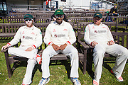 Leicestershire's Angus Robson, Jigar Naik & Captain Mark Cosgrove soak up the sun  before play gets under way during the Specsavers County Champ Div 2 match between Sussex County Cricket Club and Leicestershire County Cricket Club at the 1st Central County Ground, Hove, United Kingdom on 1 May 2016. Photo by Bennett Dean.