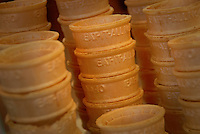 Ice cream cones stacked and ready at The Creamery in DH Hill Library. PHOTO BY ROGER WINSTEAD