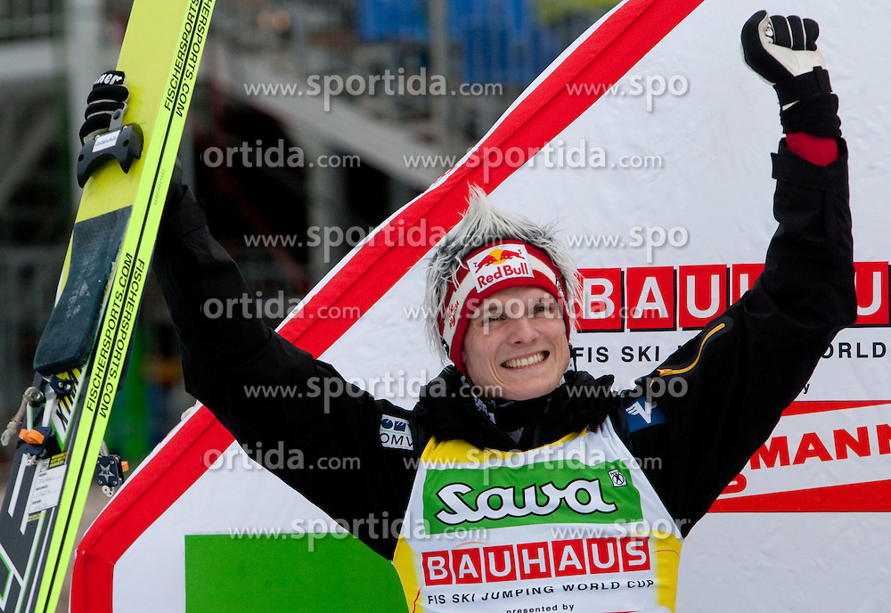 Second placed Thomas Morgenstern of Austria at flower ceremony at  Flying Hill Individual at 2nd day of FIS Ski Jumping World Cup Finals Planica 2011, on March 18, 2011, Planica, Slovenia. (Photo by Vid Ponikvar / Sportida)