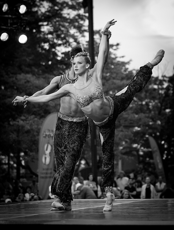 Boston Ballet's Jaime Francisco Diaz Gomez and Keenan Kampa.perform with the Boston Landmarks Orchestra at the Hatch shell. 31st of August 2011