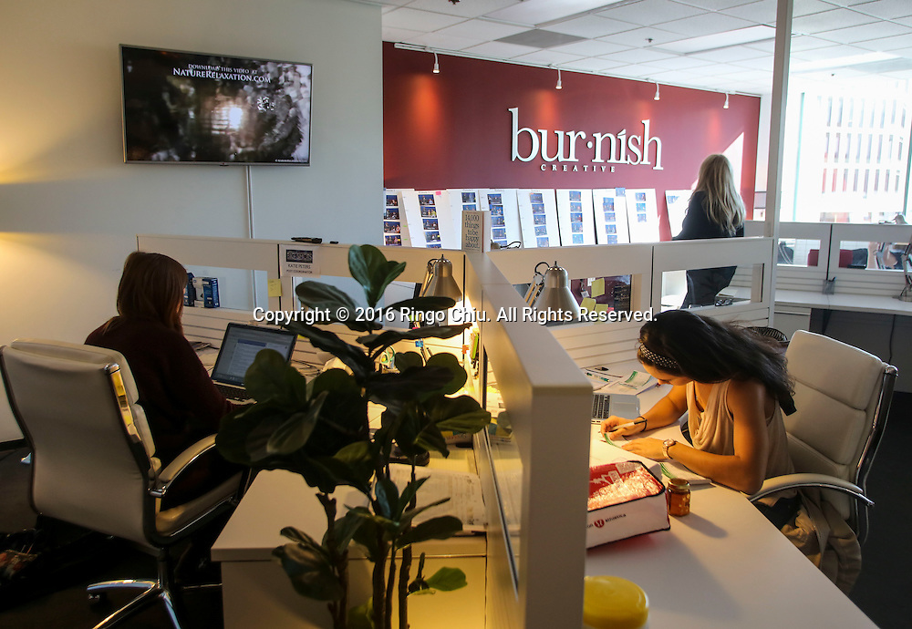 Staff of Burnish Creative at their firm&rsquo;s new office on the Miracle Mile.(Photo by Ringo Chiu/PHOTOFORMULA.com)<br /> <br /> Usage Notes: This content is intended for editorial use only. For other uses, additional clearances may be required.