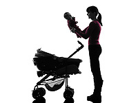 one  woman prams holding baby silhouette on white background