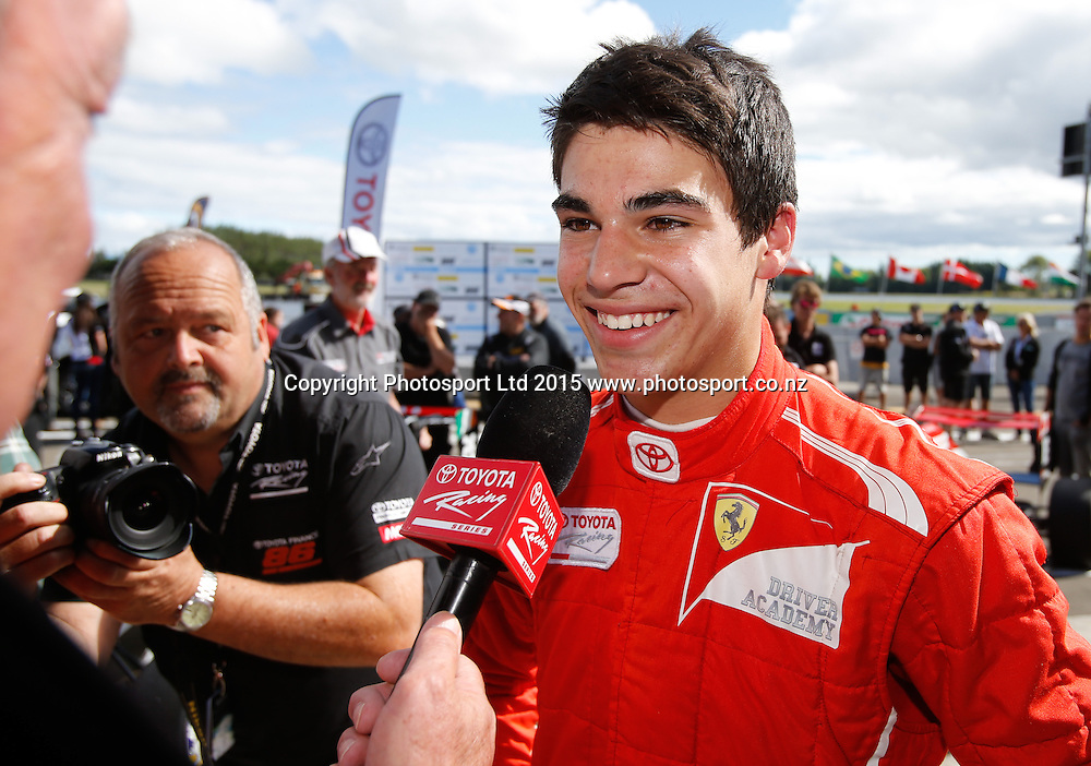Lance Stroll talks to media after winning the New Zealand Grand Prix -Toyota Racing Series, Manfeild Motorsport Park, Feidling, New Zealand. Sunday, 15 February, 2015. Photo: John Cowpland / www.photosport.co.nz