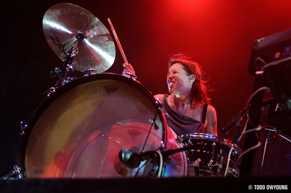 Matt & Kim performing at the Pageant in St. Louis, Missouri on June 23, 2011. © Todd Owyoung.