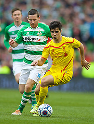 DUBLIN, REPUBLIC OF IRELAND - Wednesday, May 14, 2014: Liverpool's Joao Carlos Teixeira in action against Shamrock Rovers during a postseason friendly match at Lansdowne Road. (Pic by David Rawcliffe/Propaganda)