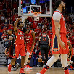 Apr 19, 2018; New Orleans, LA, USA; New Orleans Pelicans forward Solomon Hill (44) celebrates with forward Darius Miller (21) after a three point basket against the Portland Trail Blazers during the second half in game three of the first round of the 2018 NBA Playoffs at the Smoothie King Center. The Pelicans defeated the Trail Blazers 119-102.  Mandatory Credit: Derick E. Hingle-USA TODAY Sports