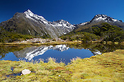 The Darren Mountains as seen reflected in a tarn on Key Summit near the Routeburn Track, Southland, New Zealand.