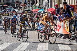 Geraardsbergen, Belgium - Eneco Tour :: Stage 7 - 18th August 2013 - Garikoitz Bravo OIARBIDE (Euskaltel) leading a group after the peloton
