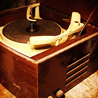 An old 1950's wooden record player