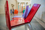 Phillip King's Nile 1967,Plastic laminated and glass reinforces plastic. Phillip King exhibition at the Tate Britain, to mark his 80th birthday. The display celebrates King's significant contribution to late 20th century sculpture through six colourful sculptures. These are his key works from the 1960s and include a variety of unusual shapes and forms, demonstrate King's experimentation with abstraction, construction, material and colour. They include iconic sculptures such as Genghis Khan 1963, a conical structure with a pair of antler-like forms and Rosebud 1962, his first coloured sculpture using fibreglass. The works are displayed in the grand surroundings of the Duveen galleries at Tate Britain.