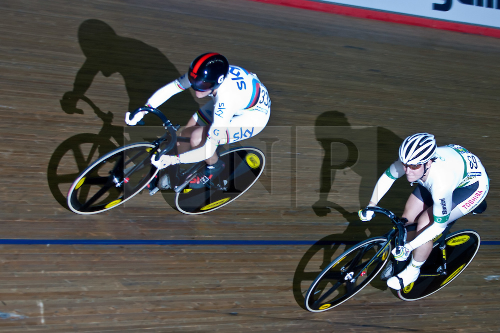 © Licensed to London News Pictures. 19/02/2011. Victoria Pendleton (left) of Great Britain competes in the Women's sprint semifinals against Anna Meares of Australia. At the UCI Track Cycling World Cup in Manchester. this evening (19/02/2011). Photo credit should read: Reuben Tabner/LNP