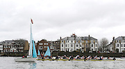 Putney, GREAT BRITAIN,  Both crews, move through the flotilla of sailing boats,  during the  2010  Varsity/Oxford University  vs Leander Club, raced over the championship course. Putney to Mortlake, Sat. 20.03.2010. [Mandatory Credit, Peter Spurrier/Intersport-images]