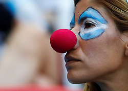 June 30, 2018 - Kazan, Russie - KAZAN, RUSSIA - JUNE 30, 2018: Team Argentina's supporters ahead of the 2018 FIFA World Cup Round of 16 match between France and Argentina, outside Kazan Arena Stadium. (Credit Image: © Panoramic via ZUMA Press)