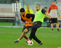 MELBOURNE, AUSTRALIA - Tuesday, July 23, 2013: Liverpool's Luis Suarez and Jose Enrique during a training session at the Melbourne Cricket Ground ahead of their preseason friendly against Melbourne Victory. (Pic by David Rawcliffe/Propaganda)