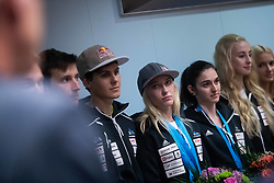 Domen Skofic, Janja Garnbret, Mia Krampl and Urska Repusic during PZS press conference after IFSC Climbing World Championships in Hachioji (JPN) 2019, on August 23, 2019 at Ministry of Education, Science and Sport, Ljubljana, Slovenia. Photo by Grega Valancic / Sportida