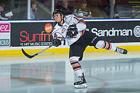 KELOWNA, CANADA - OCTOBER 13: Lucas Cullen #14 of the Calgary Hitmen warms up against the Kelowna Rockets on October 13, 2017 at Prospera Place in Kelowna, British Columbia, Canada.  (Photo by Marissa Baecker/Shoot the Breeze)  *** Local Caption ***