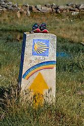 11-06-2017 SPA: We hike to change diabetes day 2, Rabanal del Camino<br /> De eerste dag van Astorga naar Rabanal del Camino. Een tocht van 21 km door vlak landschap maar in een hitte van 32 graden. Richting, schelp, bord, route, item