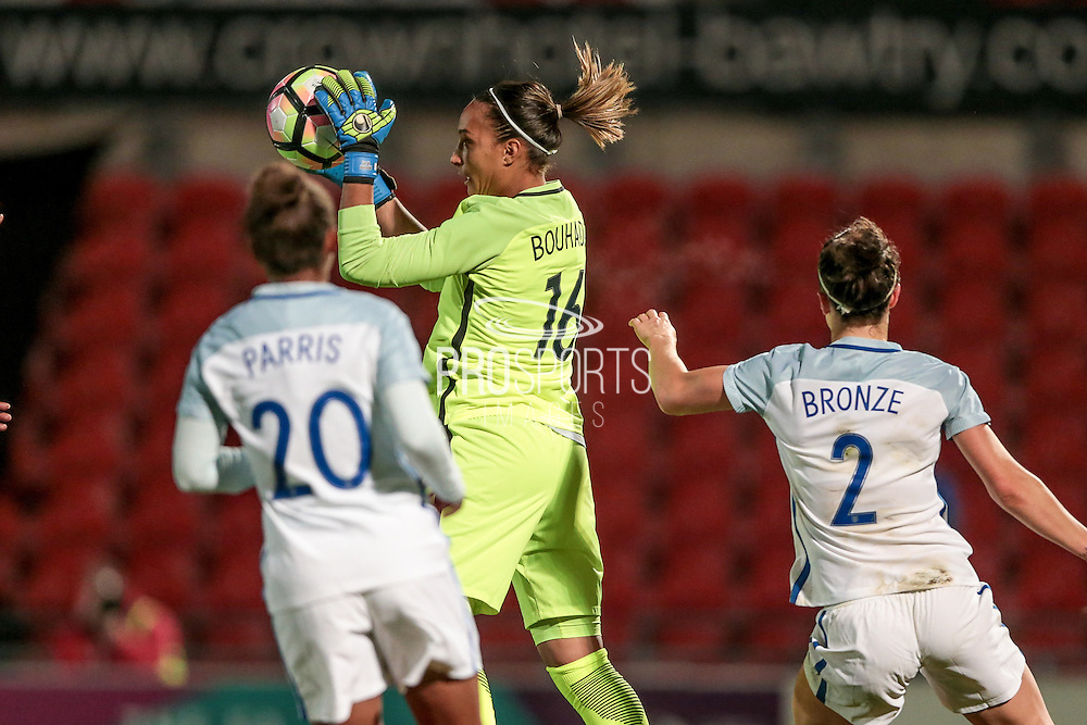 Sarah Bouhaddi (France) makes the catch from the England free kick during the International Friendly match between England Women and France Women at the Keepmoat Stadium, Doncaster, England on 21 October 2016. Photo by Mark P Doherty.