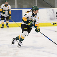 2nd year forward Lilla Carpenter-Boesch (17) of the Regina Cougars in action during the Women's Hockey home game on February 10 at Co-operators arena. Credit: Arthur Ward/Arthur Images