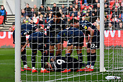 Goal - Patrick Bamford (9) of Leeds United is down injured after scoring a goal to give a 0-1 lead to the away team  during the EFL Sky Bet Championship match between Bristol City and Leeds United at Ashton Gate, Bristol, England on 9 March 2019.