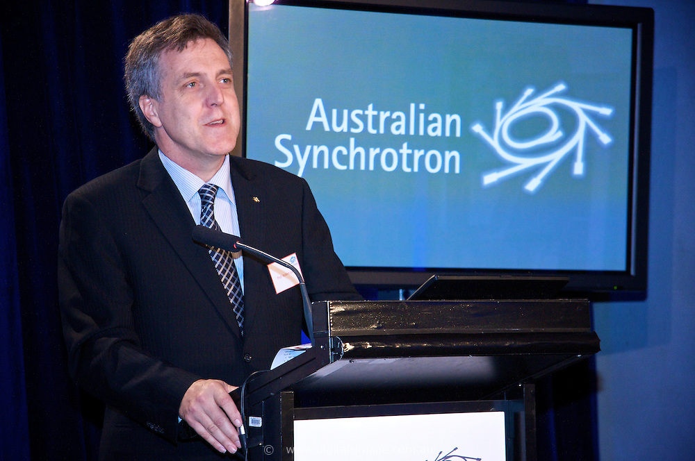 Prof. Robert Lamb, Facility Director at the Australian Synchrotron; speaking at the funding announcement for the enhancement of the imaging and medical beamline.