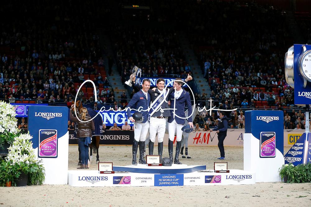 Guerdat Steve, (SUI), Smolders Harrie, (NED), Deusser Daniel, (GER)<br /> Winner of the Longines FEI World Cup Jumping Final III B<br /> © Dirk Caremans