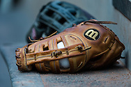 A close up view of a glove during a game between the Minnesota Twins and Detroit Tigers on April 3, 2013 at Target Field in Minneapolis, Minnesota.  The Twins defeated the Tigers 3 to 2.  Photo: Ben Krause