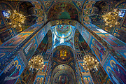 """Interior of the Church of the Resurrection, also known as the """"Church of the Saviour on Spilled Blood"""", was built in memory of Alexander II who was assassinated in 1881"""