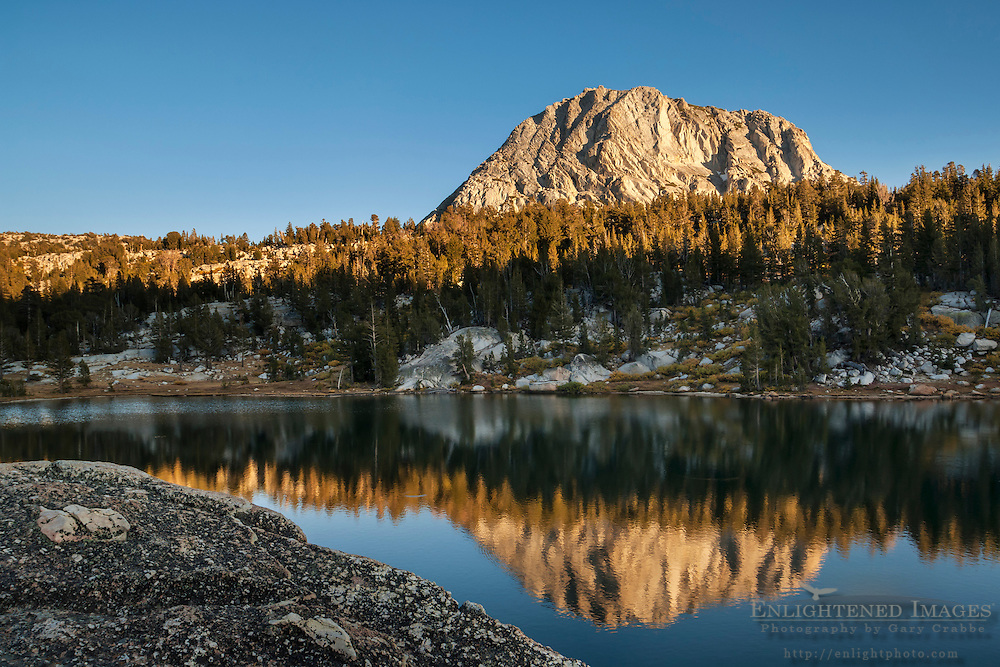 Fletcher Peak reflected in Boothe Lake, Vogelsang region, Yosemite National Park, California