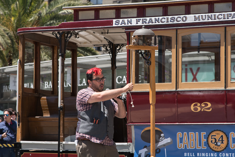 SF Examiner Reporter Joe Fitzgerald Rodriguez Performing in the Amateur Competition at the 54th Annual Cable Car Bell Ringing Contest | July 13, 2017