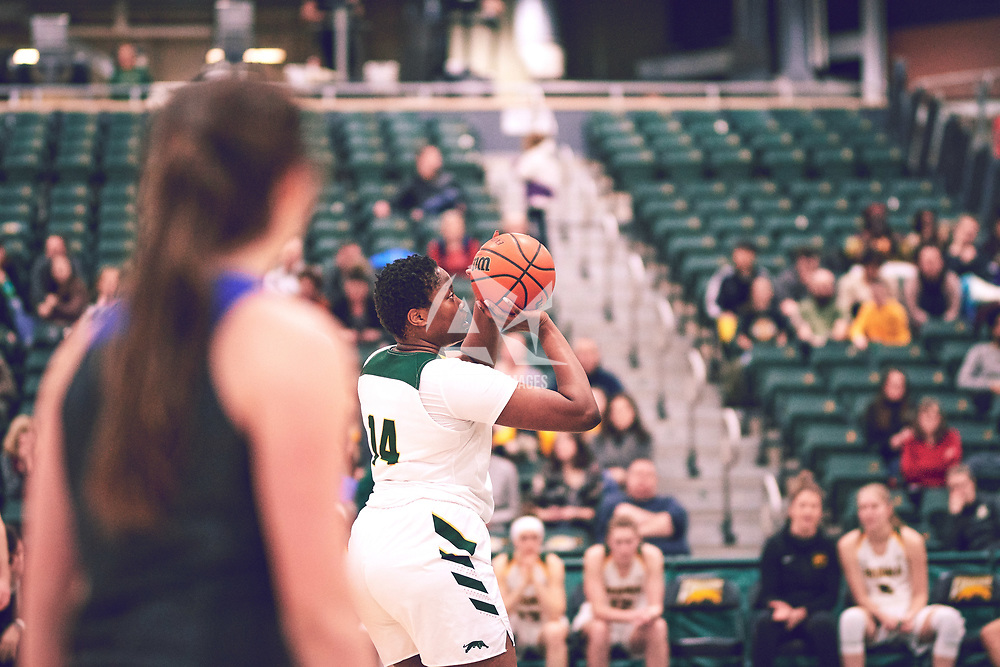 2nd year power forward, Angela Bongomin (14) of the Regina Cougars during the Women's Basketball Home Game on Thu Feb 14 at Centre for Kinesiology,Health and Sport. Credit: Arthur Ward/Arthur Images