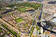Nederland, Zuid-Holland, Den Haag, 09-05-2013; overzicht westelijk deel van de stad. Laakkanaal aan de Troelstrakade, Moerwijk, Zuiderpark. Wederopbouw en stadsuitbreiding na de oorlog uit de jaren 40 en 50. <br /> Overview western The Hague,  post-war reconstruction residential area, buit in the fourties and fifties. <br /> luchtfoto (toeslag op standard tarieven)<br /> aerial photo (additional fee required)<br /> copyright foto/photo Siebe Swart
