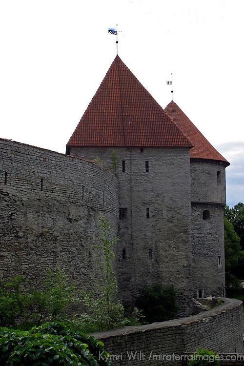 Europe, Estonia, Tallinn. The historic walls and towers of Tallinn.