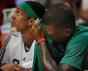 Nate Robinson wipes the sweat from his brow in the final moments of the 4th quarter. The Lakers defeated the Boston Celtics in game 6 of the NBA Finals 89-67. Los Angeles, CA 06/15/2010 (John McCoy/Staff Photographer).