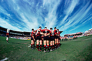 Canterbury talk during a huddle prior to the start of a NPC rugby union match 1995. Photo: Andrew Cornaga / www.photosport.co.nz