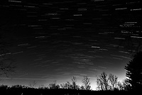 Winter Nighttime Sky Over New Jersey. Composite star trail image 23:08-23:29) taken with a Nikon D810a camera and 19 mm f/4 PC-E lens (ISO 400, 19 mm, f/8, 120 sec). Raw images processed with Capture One Pro and the composite created with Photoshop CC (statistics, maximum). Conversion to B&W with Capture One Pro.