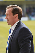 Gillingham  manager Justin Edinburgh before  the Sky Bet League 1 match between Gillingham and Coventry City at the MEMS Priestfield Stadium, Gillingham, England on 2 April 2016. Photo by Martin Cole.