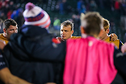 Mitch Eadie looks dejected as Bristol Rugby huddle after a 16-9 loss - Rogan Thomson/JMP - 18/11/2016 - RUGBY UNION - Recreation Ground - Bath, England - Bath Rugby v Bristol Rugby - Aviva Premiership.