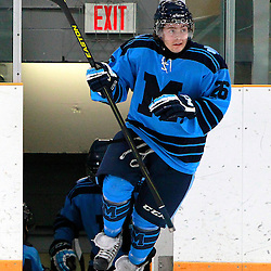 AURORA, ON - Jan 18 : Ontario Junior Hockey League Game Action between the St. Michael's Buzzers and the Aurora Tigers, Anthony Filoso #26 of the St.Michael's Buzzers Hockey Club takes to the ice for warm-up.<br /> (Photo by Brian Watts / OJHL Images)