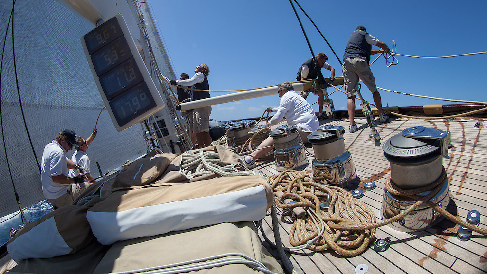 SPAIN, Palma. 20th June 2013. Superyacht Cup. J Class. Race two. On board Velsheda.