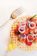 Brunch: salmon waffle at The Peninsula Shanghai.