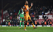 Ahmed Elmohamady begins the party after the Sky Bet Championship match between Brentford and Hull City at Griffin Park, London, England on 3 November 2015. Photo by Michael Hulf.